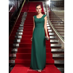 Formal Evening / Military Ball Dress - Dark Green Plus Sizes / Petite Sheath/Column Sweetheart Sweep/Brush Train Chiffon