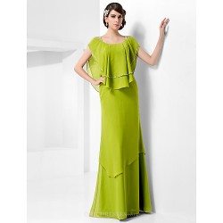 Formal Evening Military Ball Dress Clover Plus Sizes Petite Sheath Column Scoop Straps Floor Length Chiffon