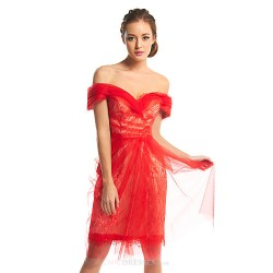 Cocktail Party Dress - Ruby Sheath/Column Off-the-shoulder Knee-length Lace / Tulle