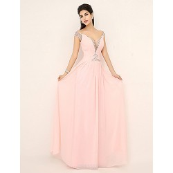 Formal Evening Dress Pearl Pink Plus Sizes Petite A Line V Neck Floor Length