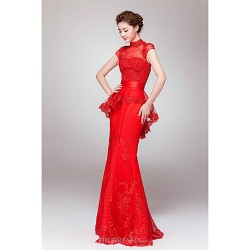 Formal Evening Dress - Ruby Sheath/Column High Neck Floor-length Lace