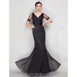Formal Evening Military Ball Dress Black Plus Sizes Petite Trumpet Mermaid V Neck Floor Length Chiffon