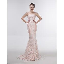 Dress Blushing Pink Trumpet Mermaid Strapless Sweep Brush Train Lace
