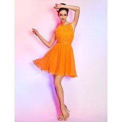 Cocktail Party / Holiday Dress - Orange Plus Sizes / Petite A-line Jewel Short/Mini Chiffon