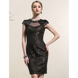 Cocktail Party Dress Black Plus Sizes Sheath Column Jewel Short Mini Satin