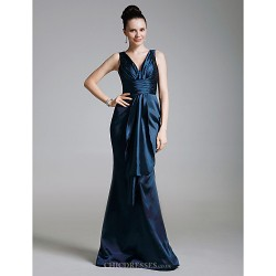Formal Evening Military Ball Dress Dark Navy Plus Sizes Petite Trumpet Mermaid V Neck Floor Length Stretch Satin Satin
