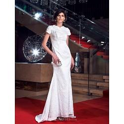Formal Evening / Prom / Military Ball Dress - White Plus Sizes / Petite Sheath/Column Jewel Floor-length Lace