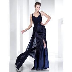 Formal Evening Military Ball Dress Dark Navy Plus Sizes Petite Sheath Column Straps Floor Length Chiffon Satin