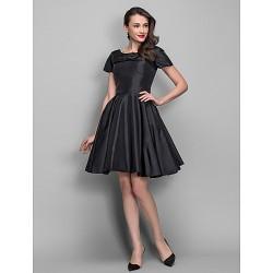 Cocktail Party Dress Black Plus Sizes Petite A Line Princess Bateau Knee Length Taffeta