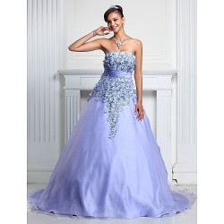 Prom Formal Evening Quinceanera Sweet 16 Dress Lavender Plus Sizes Petite A Line Ball Gown Strapless Court Train Organza