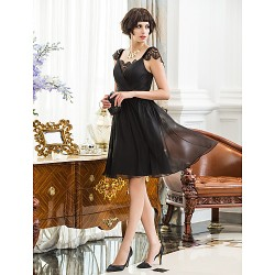 Cocktail Party Holiday Dress Black Plus Sizes Petite A Line Straps Knee Length Chiffon