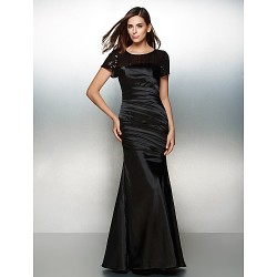 Formal Evening Dress Black Trumpet Mermaid Scoop Floor Length Satin