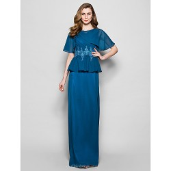 Sheath Column Plus Sizes Petite Mother Of The Bride Dress Ink Blue Floor Length Short Sleeve Chiffon Lace