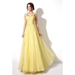Formal Evening Dress - Watermelon / Daffodil A-line Sweetheart Floor-length Chiffon