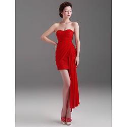 Cocktail Party Dress Ruby Sheath Column Strapless Short Mini Chiffon