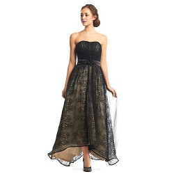 Formal Evening Dress Black A Line Strapless Asymmetrical Lace Tulle
