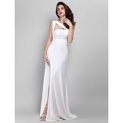 Formal Evening Prom Military Ball Dress Ivory Plus Sizes Petite Sheath Column Straps Floor Length Jersey