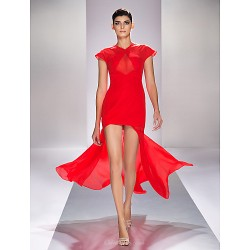 Formal Evening / Prom / Military Ball Dress - Ruby Plus Sizes / Petite Sheath/Column V-neck Asymmetrical Chiffon