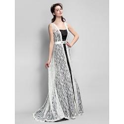 Sweep Brush Train Satin Lace Bridesmaid Dress Black A Line Straps