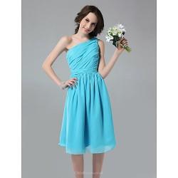 Knee-length Chiffon Bridesmaid Dress - Pool Plus Sizes / Petite A-line One Shoulder