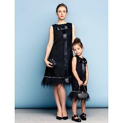 Cocktail Party Dress Black Plus Sizes Petite A Line Jewel Knee Length Cotton