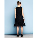 TS Couture Cocktail Party Dress - Black Plus Sizes / Petite A-line Jewel Knee-length Cotton Special Occasion Dresses