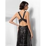 Formal Evening Dress - Black Plus Sizes / Petite Sheath/Column V-neck Court Train Sequined Special Occasion Dresses