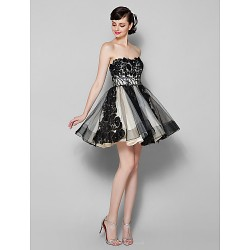 Cocktail Party Dress Black Plus Sizes Petite A Line Strapless Short Mini Tulle