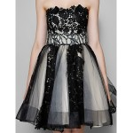 TS Couture Cocktail Party Dress - Black Plus Sizes / Petite A-line Strapless Short/Mini Tulle Special Occasion Dresses