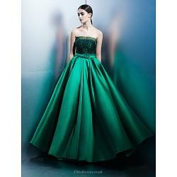 Formal Evening Dress Jade A Line Strapless Floor Length Lace Satin