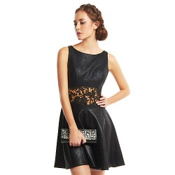 Cocktail Party Dress - Black A-line Scoop Short/Mini Polyester