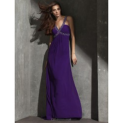Formal Evening Dress Grape Plus Sizes Petite Sheath Column V Neck Floor Length Georgette