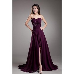 Formal Evening Dress Grape Plus Sizes Petite A Line Sweetheart Sweep Brush Train Chiffon