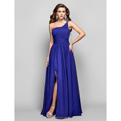Formal Evening / Military Ball Dress - Regency Plus Sizes / Petite Sheath/Column One Shoulder Floor-length Chiffon
