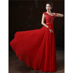 Formal Evening Dress Ruby Plus Sizes Sheath Column Scoop Floor Length Chiffon