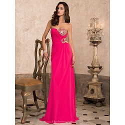 Prom / Formal Evening / Military Ball Dress - Fuchsia Plus Sizes / Petite Sheath/Column Sweetheart / Strapless Floor-length Chiffon