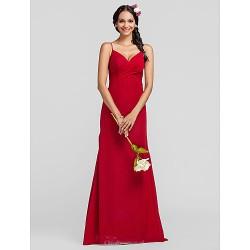 Floor Length Chiffon Bridesmaid Dress Ruby Plus Sizes Petite Sheath Column Spaghetti Straps