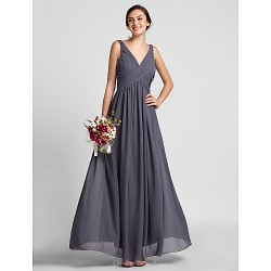 Sheath Column V Neck Floor Length Chiffon Bridesmaid Dress