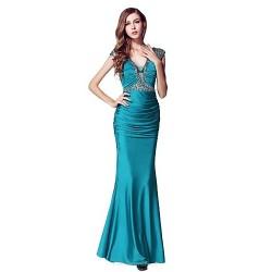 Formal Evening Dress Ink Blue Sheath Column V Neck Floor Length Stretch Satin