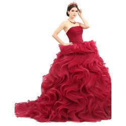 Formal Evening Dress - Burgundy Petite Ball Gown Strapless Sweep/Brush Train Organza / Tulle / Charmeuse