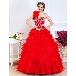 Prom Quinceanera Formal Evening Sweet 16 Dress Ruby Plus Sizes Petite A Line Princess Ball Gown One Shoulder Sweetheart
