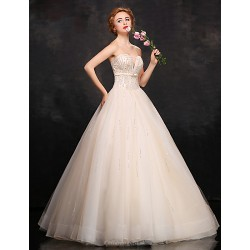 Formal Evening Dress - Champagne Ball Gown Sweetheart Floor-length Lace / Satin / Tulle