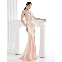 Formal Evening Dress Pearl Pink Sheath Column Scoop Floor Length Satin