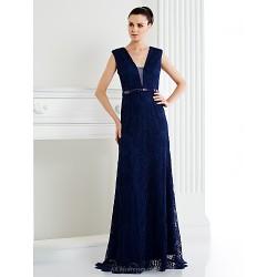 Formal Evening Dress Dark Navy Ivory A Line V Neck Sweep Brush Train Lace