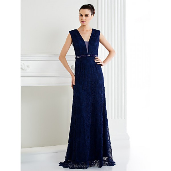 TS Couture Formal Evening Dress - Dark Navy / Ivory A-line V-neck Sweep/Brush Train Lace Special Occasion Dresses