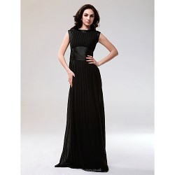 Formal Evening / Military Ball Dress - Black Plus Sizes / Petite Sheath/Column Bateau Floor-length Chiffon / Stretch Satin