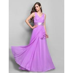 Formal Evening Prom Military Ball Dress Lilac Plus Sizes Petite Sheath Column V Neck Floor Length Chiffon Stretch Satin