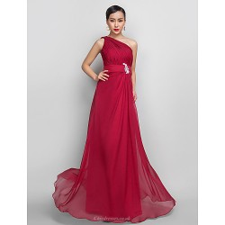 Formal Evening Prom Military Ball Dress Burgundy Plus Sizes Petite A Line One Shoulder Floor Length Chiffon