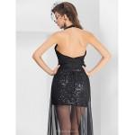 Formal Evening Dress - Black Plus Sizes / Petite Sheath/Column Halter / V-neck Asymmetrical / Floor-length Chiffon / Sequined Special Occasion Dresses