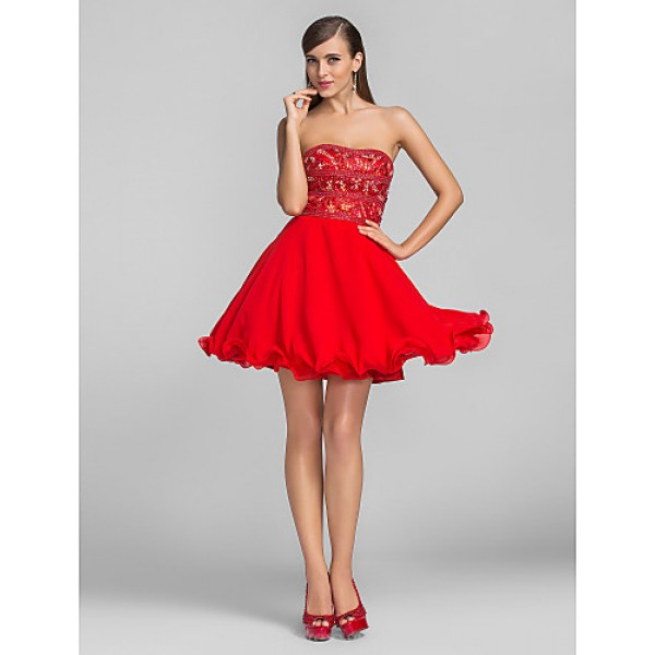 Cocktail Party / Prom Dress - Ruby Plus Sizes / Petite A-line / Princess Strapless Short/Mini Chiffon Special Occasion Dresses
